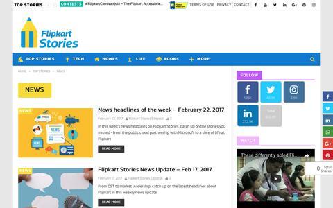 Screenshot of Press Page flipkart.com - News Archives - Flipkart Stories - captured Feb. 28, 2017