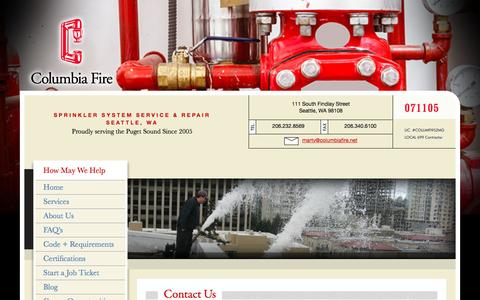 Screenshot of Contact Page columbiafire.net - Fire Protection Service in Seattle WA - captured Nov. 9, 2016
