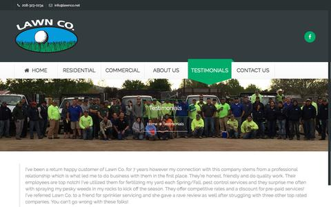 Screenshot of Testimonials Page lawnco.net - Testimonials | Boise Residential & Commercial Landscaping | Lawn Co - captured July 16, 2018