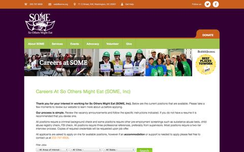 Screenshot of Jobs Page some.org - Careers at SOME | So Others Might Eat - captured Nov. 2, 2014