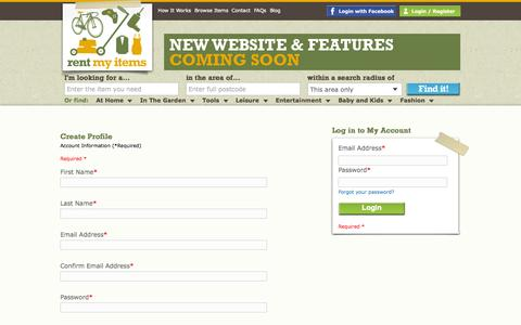 Screenshot of Signup Page rentmyitems.com - Join rentmyitems.com - rentmyitems - captured Sept. 17, 2014