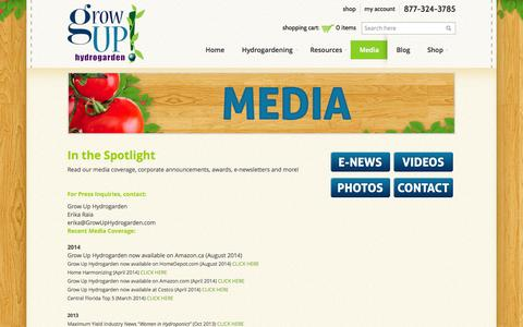 Screenshot of Press Page growuphydrogarden.com - Media | Grow Up Hydrogarden - captured Sept. 30, 2014