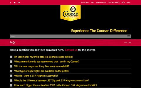 Screenshot of FAQ Page coonaninc.com - Coonan Inc   –  FAQs - captured Jan. 30, 2016