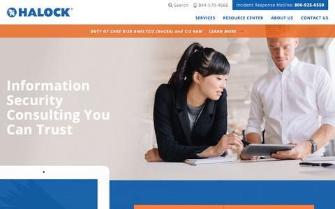 Screenshot of Home Page halock.com - Information Security Consulting Company | HALOCK Security - captured June 14, 2018