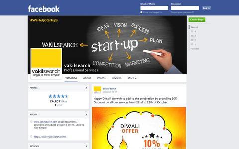 Screenshot of Facebook Page facebook.com - vakilsearch - Chennai, Tamil Nadu - Professional Services | Facebook - captured Oct. 27, 2014