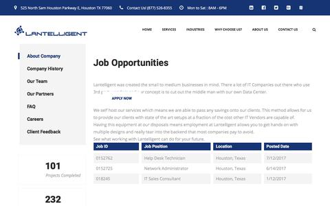 Screenshot of Jobs Page lantelligent.net - Careers in IT Services & Support for Houston, Texas - captured July 16, 2018