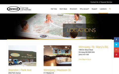 Screenshot of Contact Page Locations Page jacuzzimanitoba.ca - Find Your Nearest Jacuzzi Hot Tubs of Manitoba Location - captured July 8, 2018
