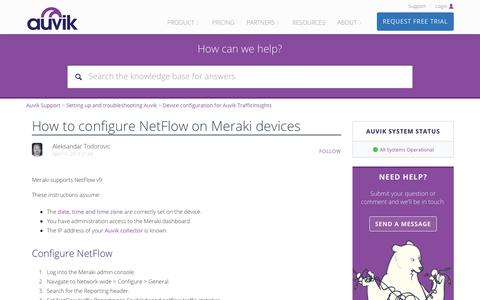 Screenshot of Support Page auvik.com - How to configure NetFlow on Meraki devices – Auvik Support - captured May 7, 2019