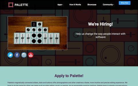 Screenshot of Jobs Page palettegear.com - Palette - Careers - captured Nov. 11, 2015