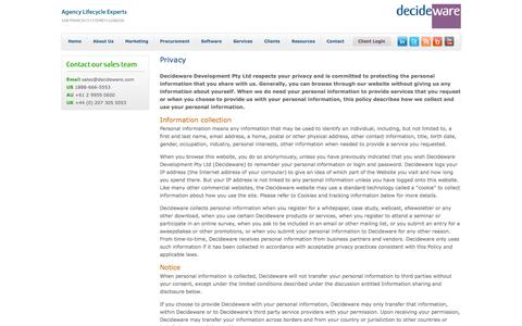 Screenshot of Privacy Page decideware.com - Decideware: Agency Lifecycle Experts : Privacy - captured Sept. 24, 2014
