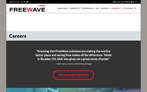 Screenshot of Jobs Page freewave.com - Freewave IIoT Careers - captured Sept. 23, 2018