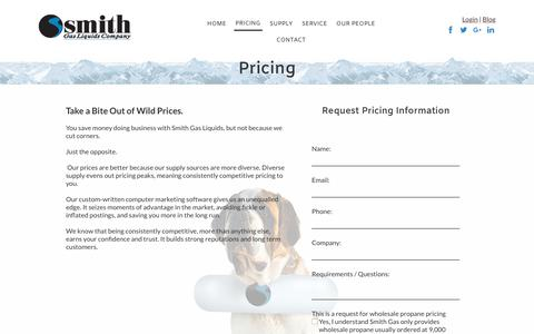 Screenshot of Pricing Page smithgas.com - Wholesale Propane Supplier Smith Gas - captured Nov. 4, 2017