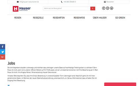 Screenshot of Jobs Page hauser-exkursionen.de - Jobs | Hauser Exkursionen - captured July 17, 2018