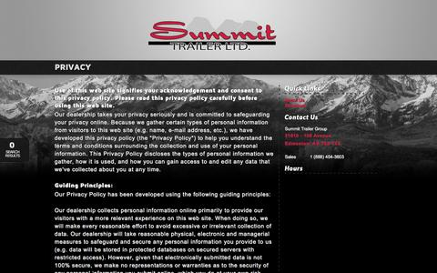 Screenshot of Privacy Page summittrailer.ca - Summit Trailer Group | Inventory for sale in Edmonton, AB T5S 1X4 - captured Feb. 16, 2016