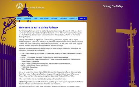 Screenshot of About Page yvr.com.au - Yarra Valley Railway - About Us - captured Oct. 9, 2014