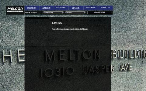 Screenshot of Jobs Page melcor.ca - Melcor Developments | Residential and Commercial Property Development and Management in Edmonton, Calgary, Lethrbridge, Red Deer and Kelowna - Careers - captured Oct. 27, 2014