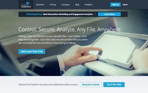 Screenshot of Home Page contentraven.com - Content Security - Secure Content Sharing | Content Raven - captured Sept. 13, 2014