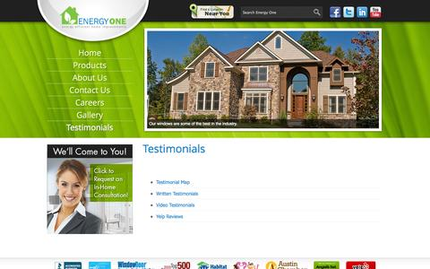 Screenshot of Testimonials Page energyonewindows.com - Testimonials - Energy One - captured Sept. 30, 2014
