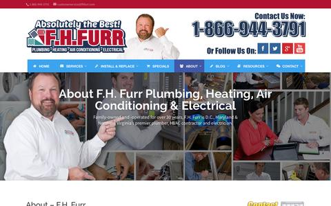 Screenshot of About Page fhfurr.com - Learn About F.H. Furr's HVAC Electrical and Plumbing Services - captured Oct. 22, 2015