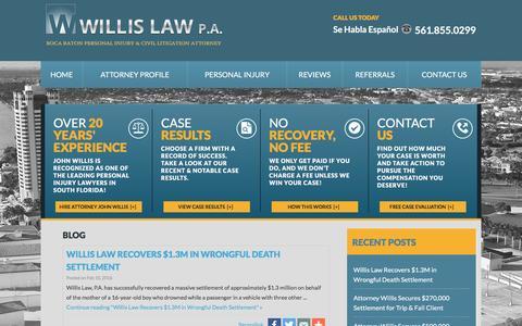 Screenshot of Blog willislaw.com - Boca Raton Personal Injury Attorney Blog   Boca Raton Personal Injury Lawyer - captured Feb. 17, 2016