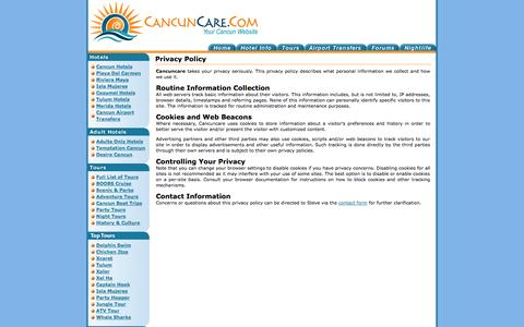 Screenshot of Privacy Page cancuncare.com - Privacy Policy - captured Nov. 2, 2014