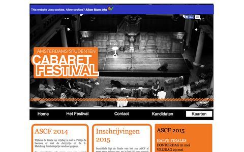 Screenshot of Home Page ascf.nl - Amsterdams Studenten Cabaret Festival - captured Oct. 4, 2014