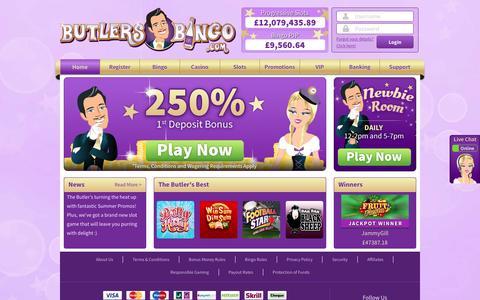 Screenshot of Home Page butlersbingo.com - Online Bingo Site Butlers Bingo - Play Online Bingo on a Silver Platter. - captured June 16, 2016