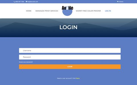 Screenshot of Login Page availe.com - Log In | Availe - captured Oct. 4, 2018