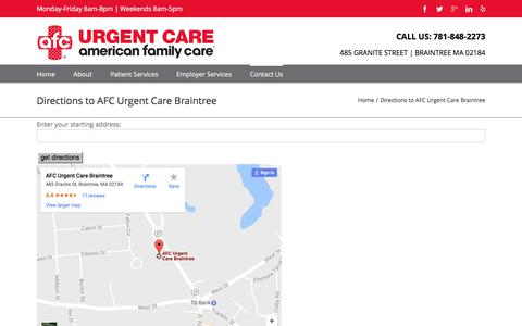 Screenshot of Maps & Directions Page doctorsexpressbraintree.com - Directions to Urgent Care in Braintree   AFC Urgent Care Braintree - captured June 4, 2017