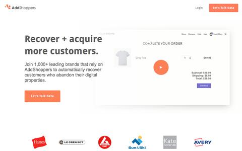 Screenshot of Home Page addshoppers.com - Recover + Acquire More Customers with AddShoppers - captured Nov. 10, 2017