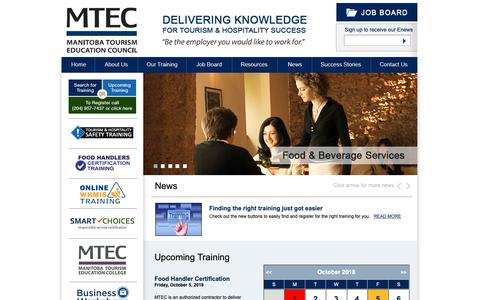 Screenshot of Home Page mtec.mb.ca - Home - Manitoba Tourism Education Council - captured Oct. 2, 2018