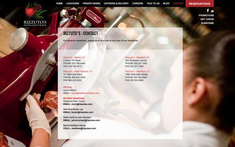 Screenshot of Contact Page rizzutos.com - Contact - captured Oct. 7, 2014