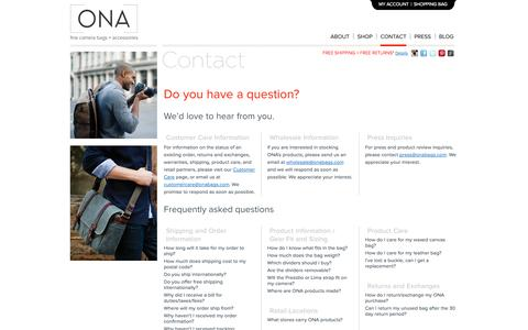Screenshot of Contact Page onabags.com - ONA    Contact   Fine Camera Bags + Accessories - captured Oct. 26, 2014