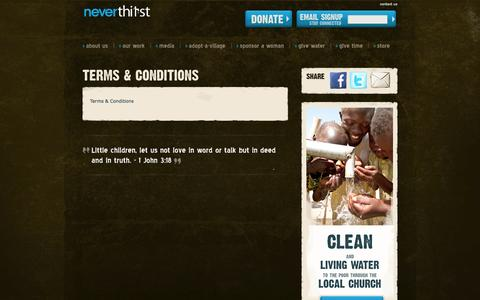 Screenshot of Terms Page neverthirstwater.org - Terms & Conditions   Neverthirst - captured Oct. 26, 2014