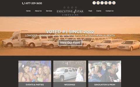 Screenshot of Home Page 4starlimo.com - Executive 4Star - Best Limo Service in Southern Alberta - captured June 19, 2015