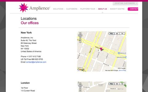 Screenshot of Locations Page amplience.com - Locations | Amplience - captured Sept. 12, 2014