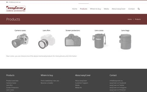 Screenshot of Products Page easycover.eu - Products | easyCover Camera Accessories - captured Dec. 14, 2015