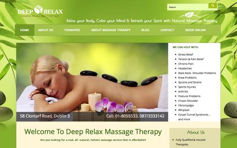 Screenshot of Home Page deeprelax.ie - Relaxing/Deep Tissue Back & Sports Massage Clontarf Road Dublin 3. - captured Nov. 16, 2015
