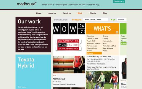 Screenshot of Case Studies Page madhouseassociates.com - We're Proud of Our Work Here at Madhouse Associates in Manchester - captured Sept. 30, 2014
