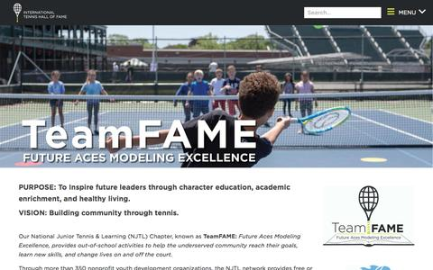 Screenshot of About Page tennisfame.com - TeamFAME - captured Sept. 19, 2018