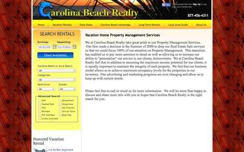 Screenshot of About Page carolinabeachrealty.net - property management in Kure Beach, property management in carolina beach - captured Oct. 31, 2014