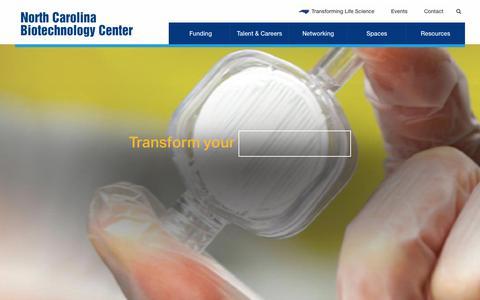 Screenshot of Home Page ncbiotech.org - North Carolina Biotechnology Center | Industry Development - captured Oct. 3, 2018