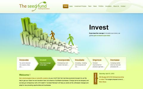 Screenshot of Home Page theseedfund.vc - The Seed Fund | Fostering Innovations by Funding & Mentoring - captured Oct. 9, 2014