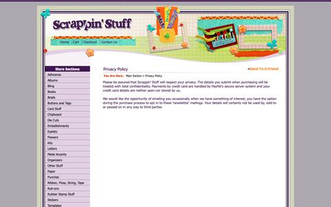 Screenshot of Privacy Page scrappinstuff.ch - Privacy Policy > Main Section > Scrappin Stuff Scrapbooking and Cards - captured Oct. 31, 2018