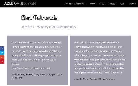 Screenshot of Testimonials Page adler-webdesign.ca - Client Testimonials - Adler Web Design - captured May 7, 2017