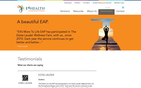 Screenshot of Testimonials Page e4healthinc.com - Testimonials | E4 Health - captured July 19, 2014