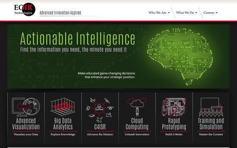 Screenshot of Home Page eoir.com - EOIR Technologies, Inc. | • Advanced Innovation Applied • - captured Oct. 1, 2014