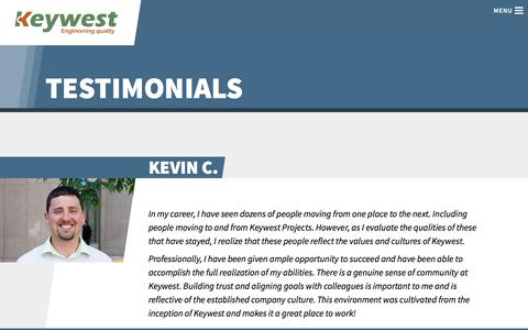 Screenshot of Testimonials Page keywestprojects.ca - Keywester Testimonials | Keywest Projects Ltd. - captured Nov. 27, 2016