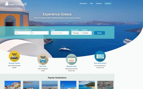 Screenshot of Home Page greeceferries.com - GreeceFerries.com - Find Schedules & Prices. Book Online! | GreeceFerries.com - captured Sept. 1, 2016