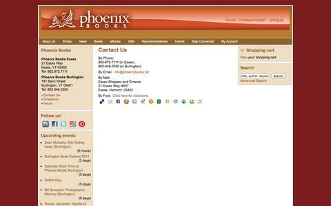 Screenshot of Contact Page phoenixbooks.biz - Contact Us | Phoenix Books - captured Sept. 17, 2014